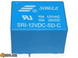 Relé SRI-12VDC-SD-C 12V 10A (128VAC/10A) 22x17x15mm