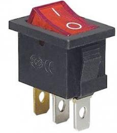 Vypínač kolébkový KCD1-2, OFF-ON 1pól.250V/6A, červený, prosvětlený