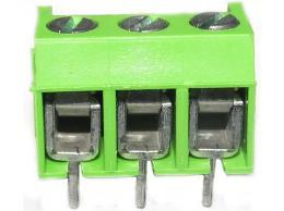 Svorkovnice do PCB, přímá, 3kontakty, 10A/300V plast, vodič do prům. 2,5 mm2, RM 5, zelená