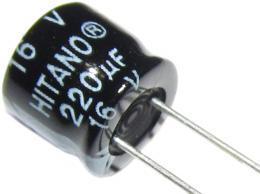 220u/16V radiální vývody, miniaturní, prům. 8x7mm, RM3.5, 105°C